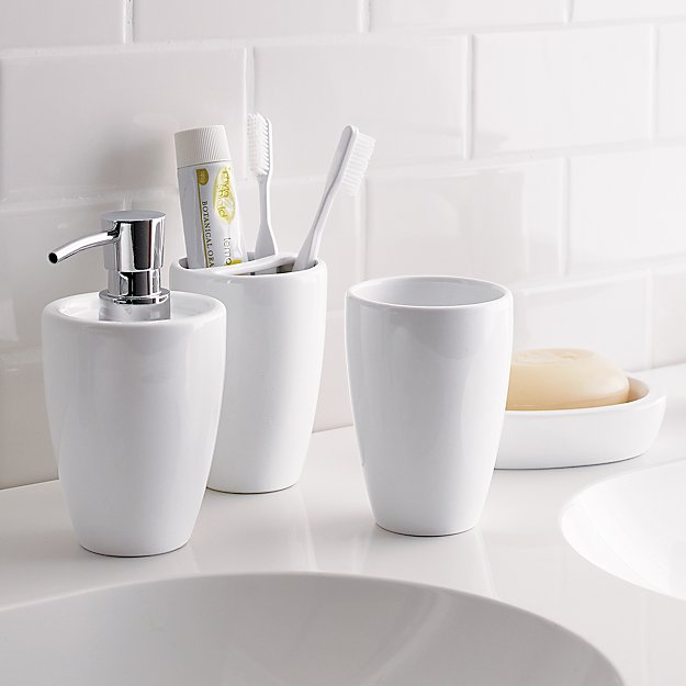 Pure white bathroom tumbler in bath accessories reviews for White bathroom tumbler