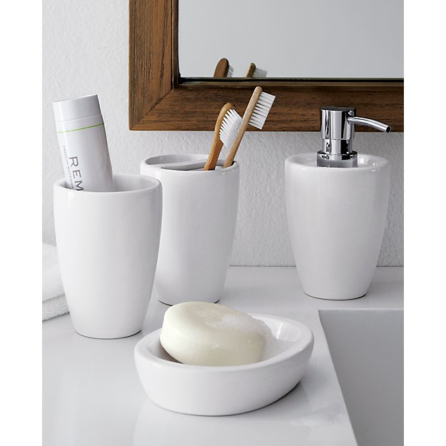 Pure white toothbrush holder crate and barrel for Bathroom accessories location