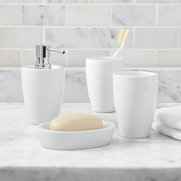 the white company bathroom accessories set of 4 accessories crate and barrel 24325