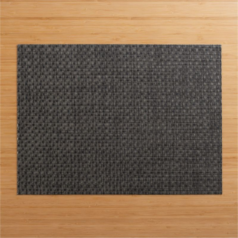 Modern graphite vinyl textures the table with our exclusive Chilewich® basketweave placemat.<br /><br /><NEWTAG/><ul><li>100% vinyl</li><li>Clean with a damp cloth</li></ul><br />