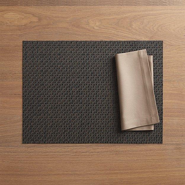 Chilewich ® Purl Bronze Vinyl Placemat and Fete Brindle Cotton Napkin