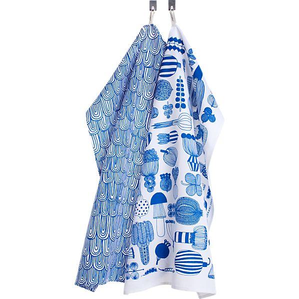 Set of 2 Marimekko Puutarhurin Parhaat Blue and White Dishtowels