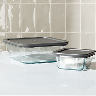 Pyrex ® 4-Piece Square Glass Storage Set