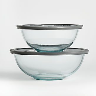 Pyrex Glass Bowls with Grey Lids, Set of 2