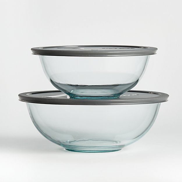 Pyrex Glass Bowls with Grey Lids, Set of 2 - Image 1 of 3