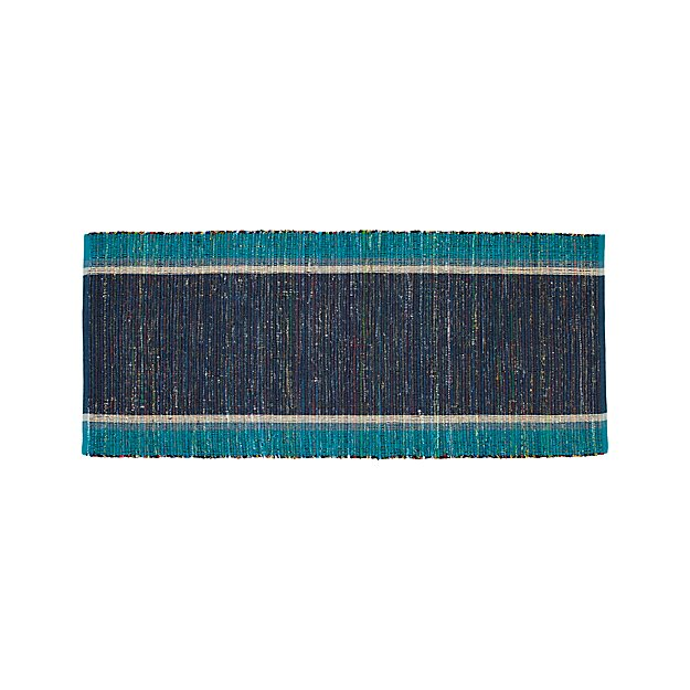Quentin Blue Cotton 2.5'x6' Rug Runner