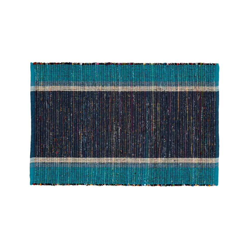 Quentin Blue Cotton 2'x3' Rug - Crate and Barrel