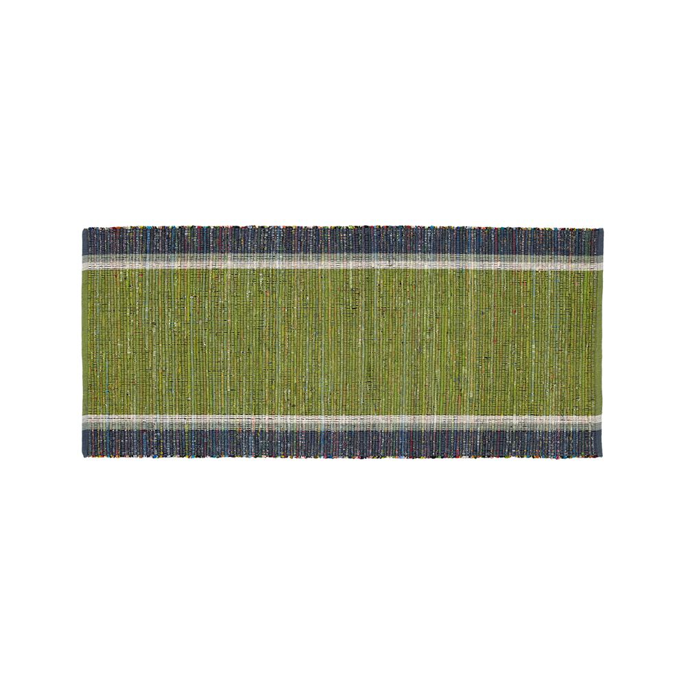 Quentin Green Cotton 2.5'x6' Rug Runner - Crate and Barrel