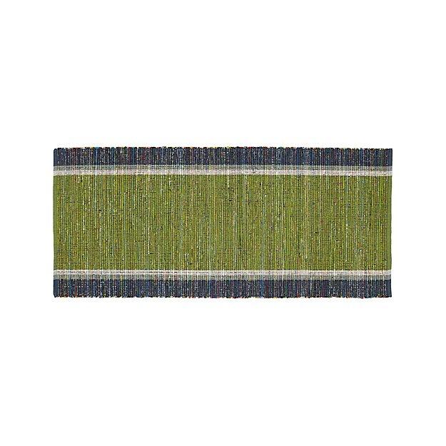 Quentin Green Cotton 2.5'x6' Rug Runner