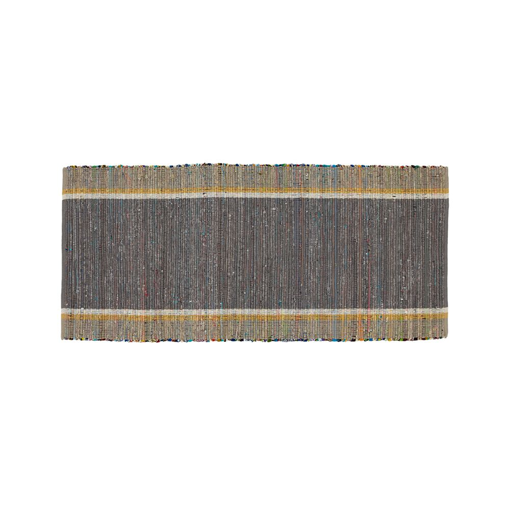 Quentin Grey Cotton 2.5'x6' Rug Runner - Crate and Barrel