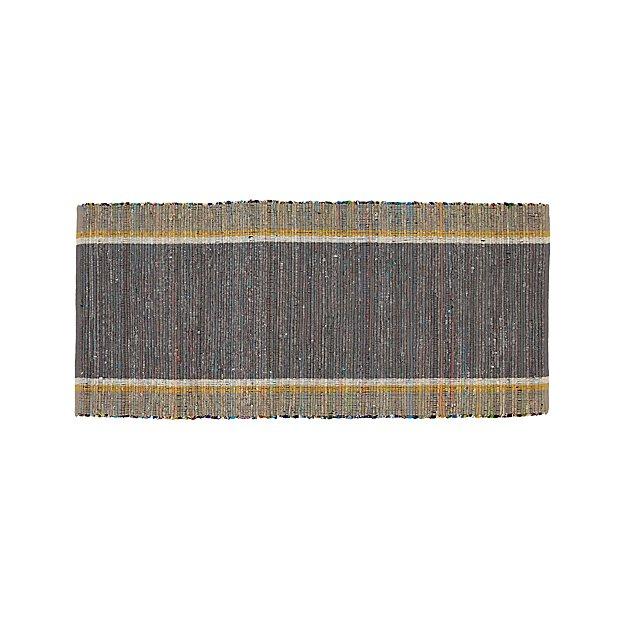 Quentin Grey Cotton 2.5'x6' Rug Runner