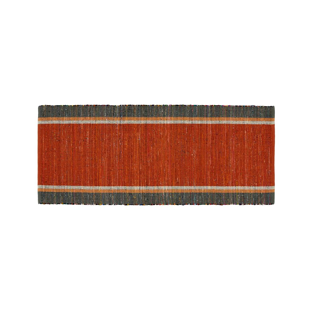 Quentin Orange Cotton 2.5'x6' Rug Runner - Crate and Barrel