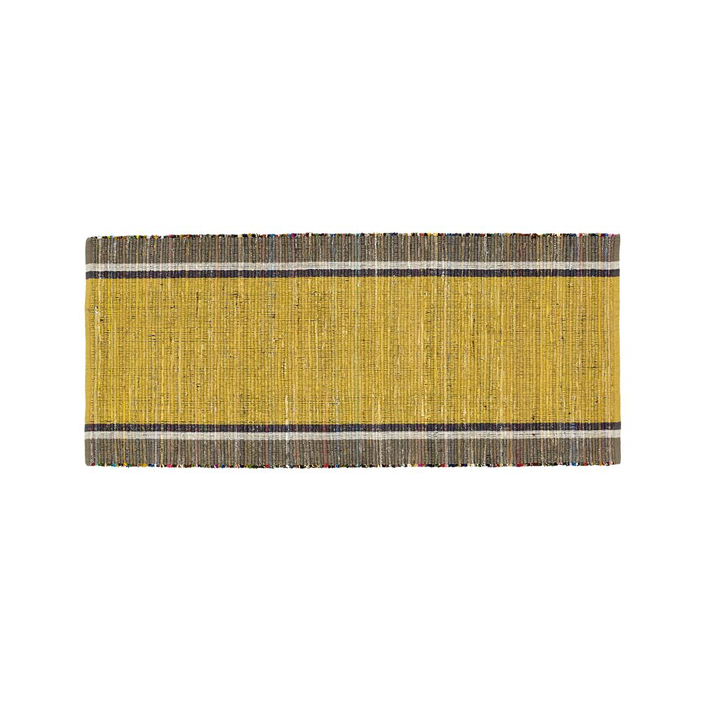 Quentin Yellow Cotton 2.5'x6' Rug Runner - Crate and Barrel