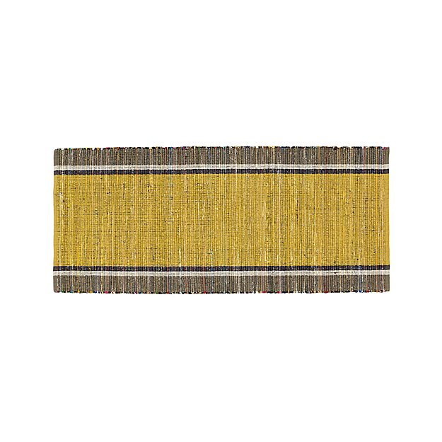 Quentin Yellow Cotton 2.5'x6' Rug Runner