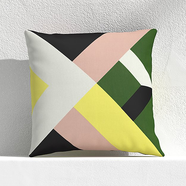 "Quilt Stripe Cactus 20"" Outdoor Pillow - Image 1 of 3"