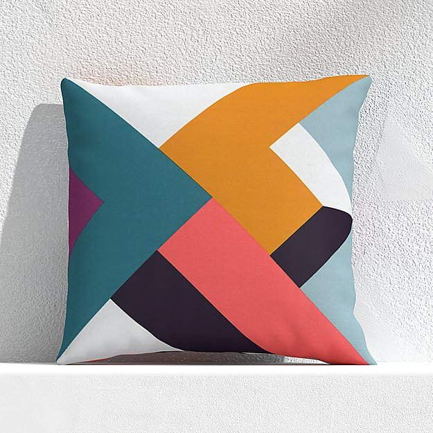 """Quilt Stripe Willowherb 20"""" Outdoor Pillow - Image 1 of 3"""