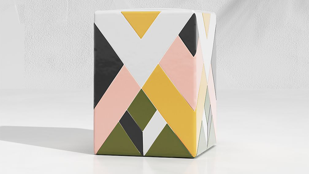 Quilted Stripe Cactus Garden Stool End Table - Image 1 of 4