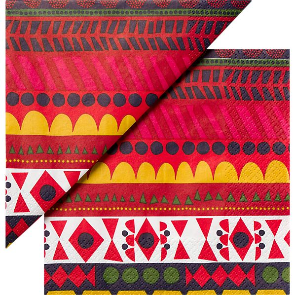 """Set of 20 Marimekko Raanu Paper 4.75"""" Napkins"""