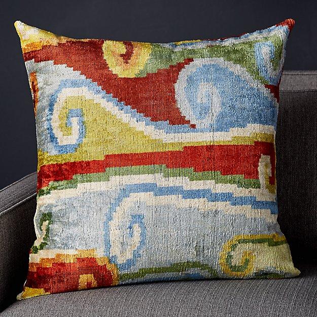 """Rada Silk Velvet Ikat Pillow 23"""" - Image 1 of 10"""