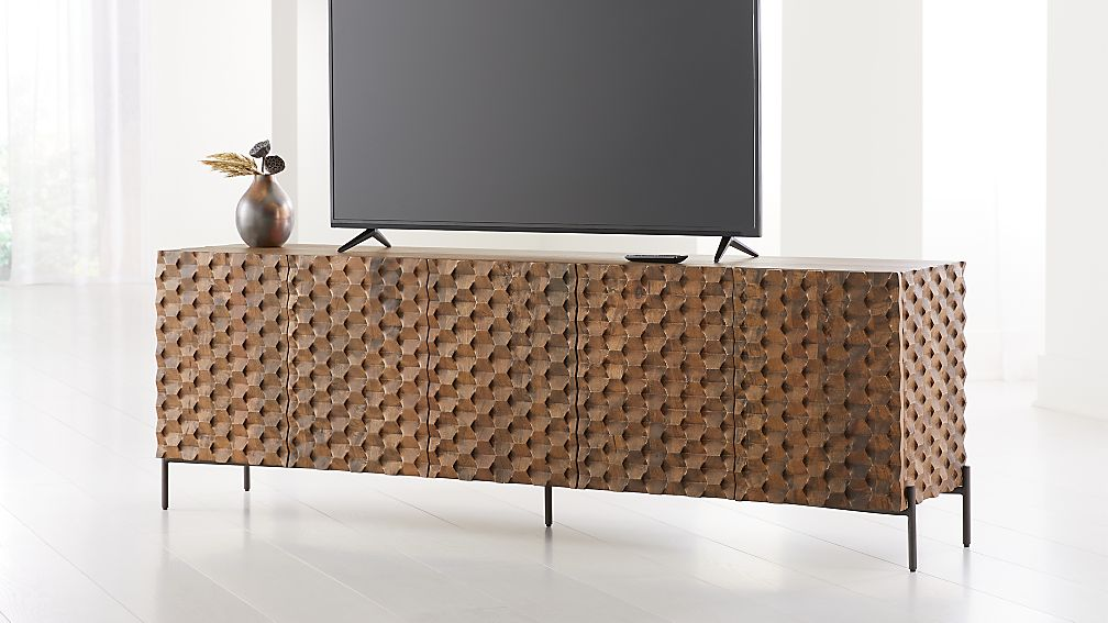 Raffael Carved Wood Media Console - Image 1 of 8
