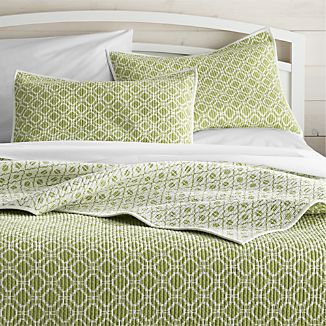 Raj Reversible Green Quilts and Pillow Shams