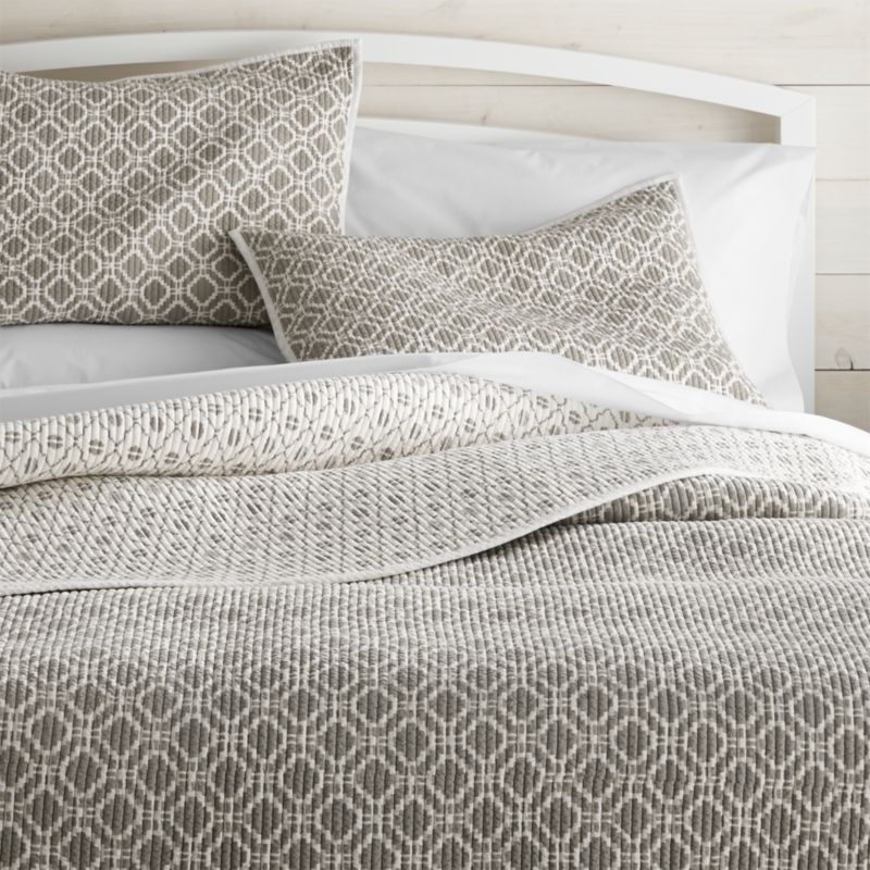 Raj Grey King Reversible Quilt | Crate and Barrel : gray quilted bedspread - Adamdwight.com