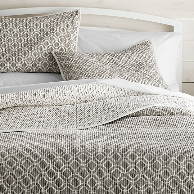 Raj Reversible Grey Quilts and Pillow Shams | Crate and Barrel : quilted king size pillow shams - Adamdwight.com