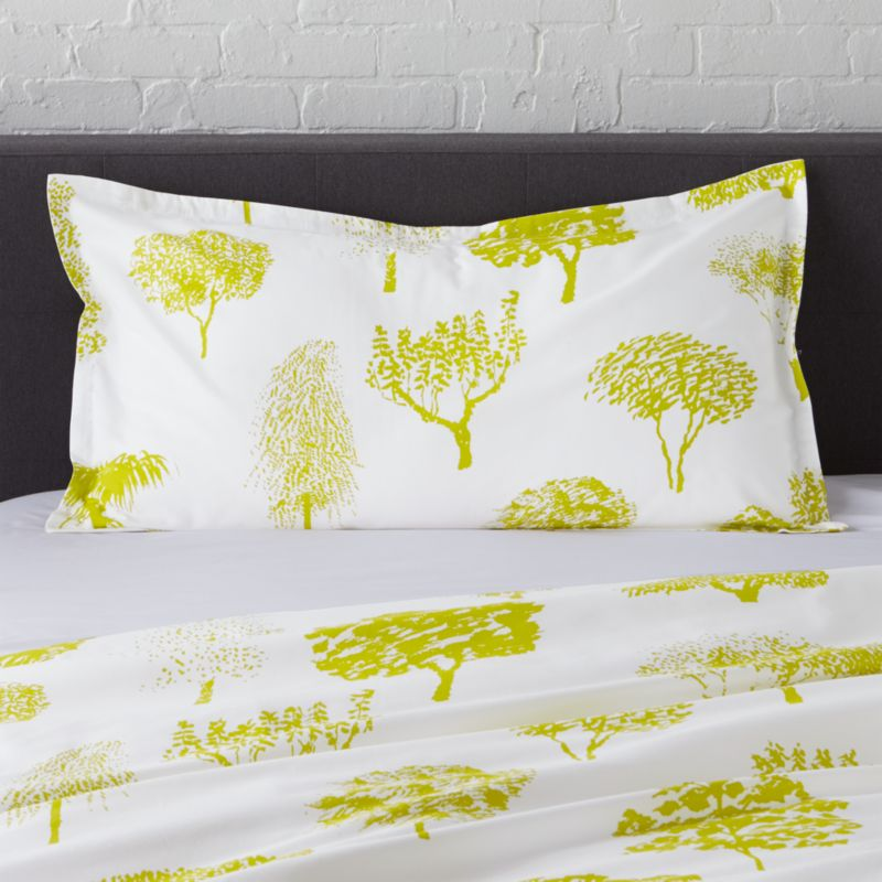 "Global forest plants citron silhouettes of the world's trees on crisp white cotton percale bedding, artfully rendered in designer Fujiwo Ishimoto's painted design. Inspired by his observations of nature in many settings, the pattern is named Rantapuisto, a Finnish word meaning ""beach park."" Sham has a 1"" flange and generous overlapping back closure. Bed pillows available.<br /><br /><NEWTAG/><ul><li>Designed by Fujiwo Ishimoto</li><li>100% cotton percale</li><li>300-thread-count</li><li>1"" flange and overlapping back closure</li><li>Machine wash cold, tumble dry low; warm iron as needed</li><li>Made in Pakistan</li></ul>"