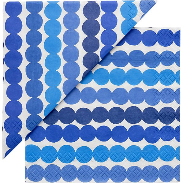 "Set of 20 Marimekko Räsymatto Blue and White Paper 6.5"" Napkins"