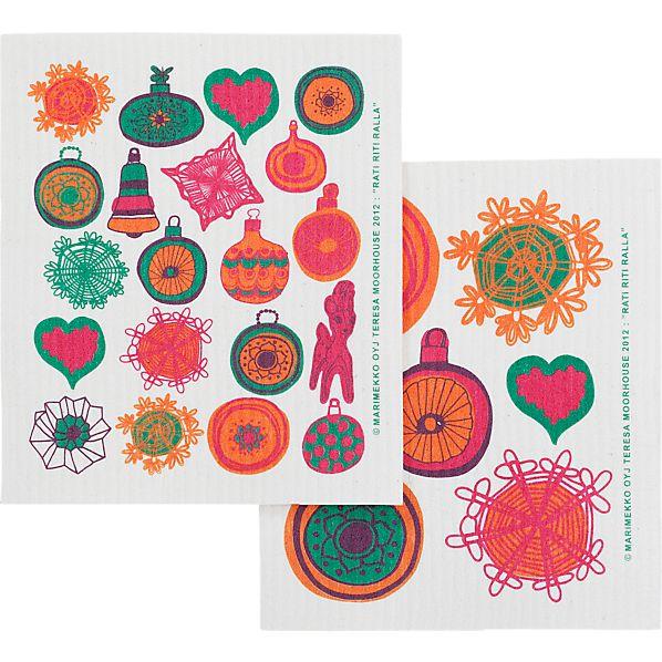 Set of 2 Marimekko Rati Riti Ralla Dishcloths