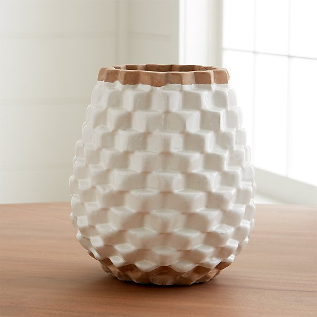 Rati White Textured Vase Reviews Crate And Barrel