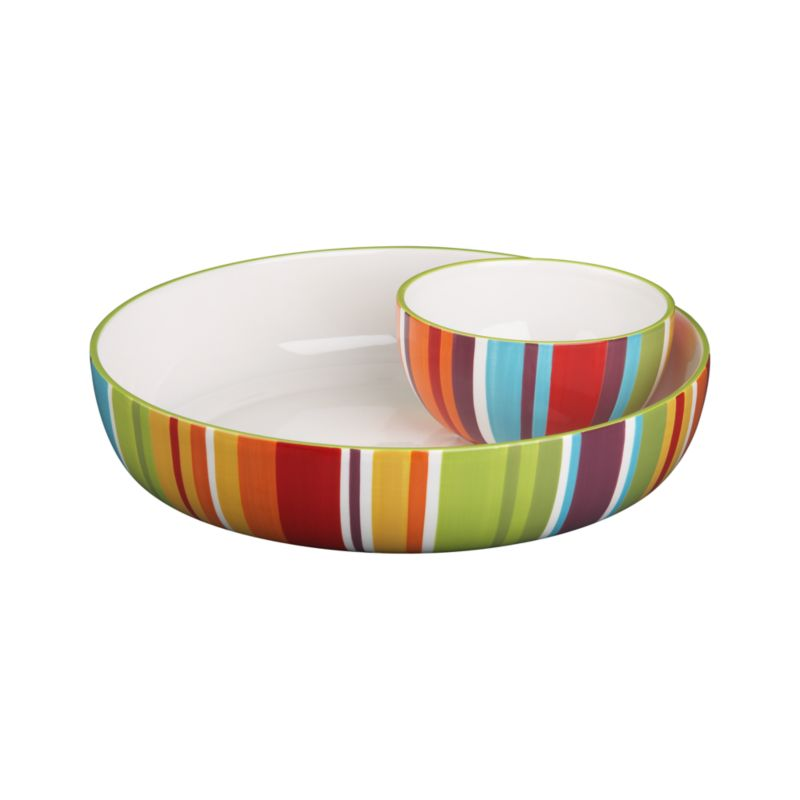 A contemporary take on Latin-inspired stripes, clean and colorful in a radial rainbow. White interiors.<br /><br /><NEWTAG/><ul><li>Earthenware</li><li>Dishwasher- and microwave-safe</li><li>Made in China</li></ul>