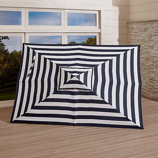 Rectangular Sunbrella ® Cabana Stripe Navy Umbrella Canopy - Image 1 of 3