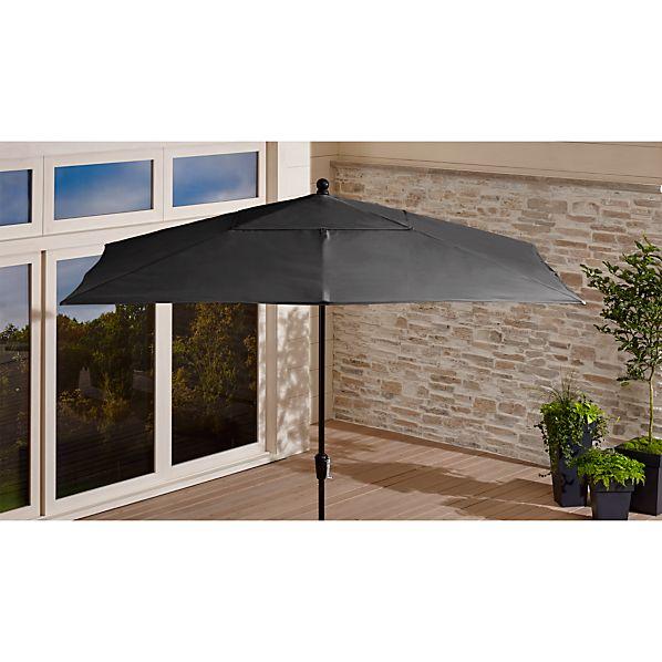 Rectangular Sunbrella ® Charcoal Patio Umbrella with Black Frame