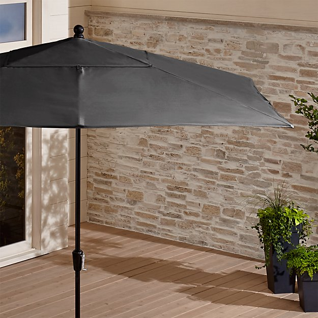 Rectangular Sunbrella ® Charcoal Patio Umbrella with Black Frame - Image 1 of 7