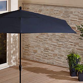 Rectangular Sunbrella ® Dark Navy Patio Umbrella With Black Frame