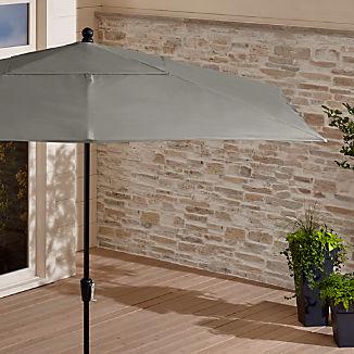 Rectangular Sunbrella ® Graphite Patio Umbrella with Black Frame