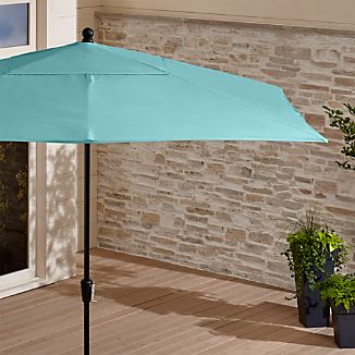 Rectangular Sunbrella ® Mineral Blue Patio Umbrella with Black Frame