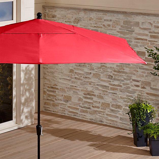 Rectangular Sunbrella ® Ribbon Red Outdoor Umbrella with Black Frame