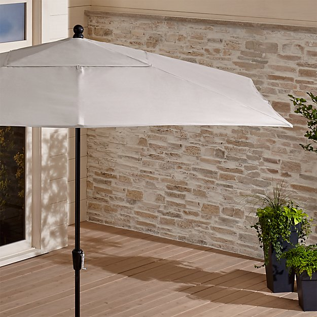 Rectangular Sunbrella ® Silver Patio Umbrella with Black Frame