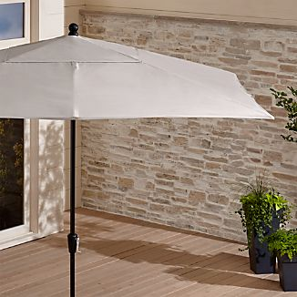 Rectangular Sunbrella ® Silver Patio Umbrella with Black Frame