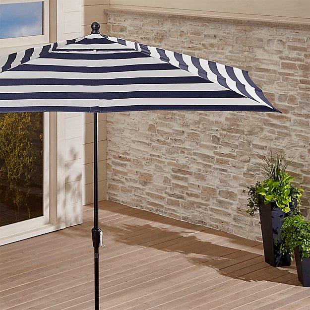 Rectangular Sunbrella ® Cabana Stripe Navy Patio Umbrella with Black Frame