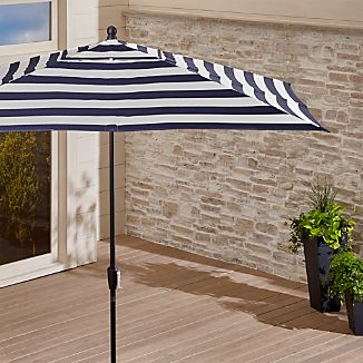 Rectangular Sunbrella ® Cabana Stripe Navy Patio Umbrella with Black Frame