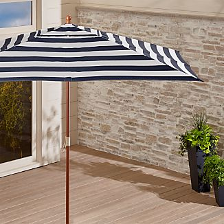 Rectangular Sunbrella ® Cabana Stripe Navy Patio Umbrella with Eucalyptus Frame