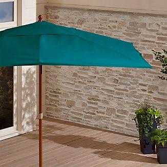 Rectangular Sunbrella ® Bold Turquoise Patio Umbrella with Eucalyptus Frame