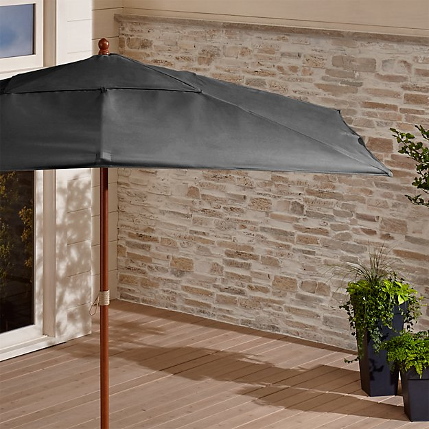 Rectangular Sunbrella ® Charcoal Patio Umbrella with Eucalyptus Frame