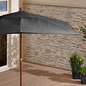 Rectangular Sunbrella ® Charcoal Patio Umbrella with Eucalyptus Frame