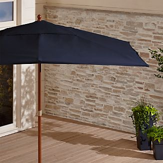 Rectangular Sunbrella ® Dark Navy Patio Umbrella with Eucalyptus Frame