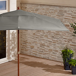 Rectangular Sunbrella ® Graphite Patio Umbrella with Eucalyptus Frame