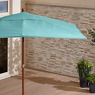 Rectangular Sunbrella ® Mineral Blue Patio Umbrella with Eucalyptus Frame